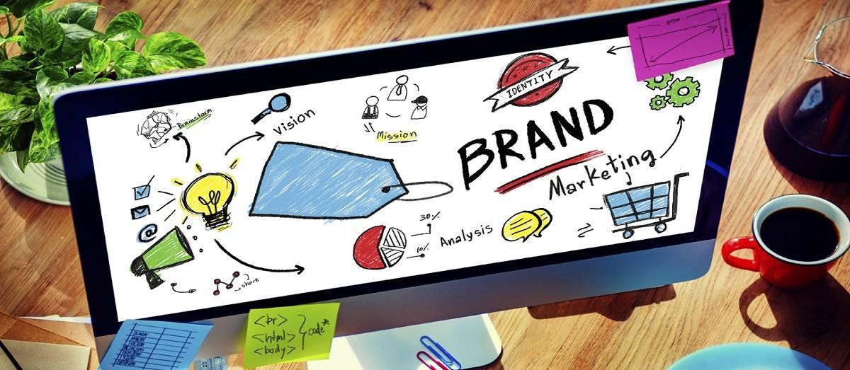 Businessman Computer Planning Marketing Brand Concept