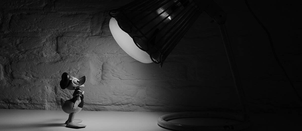 black-and-white-cartoon-donald-duck-spotlight