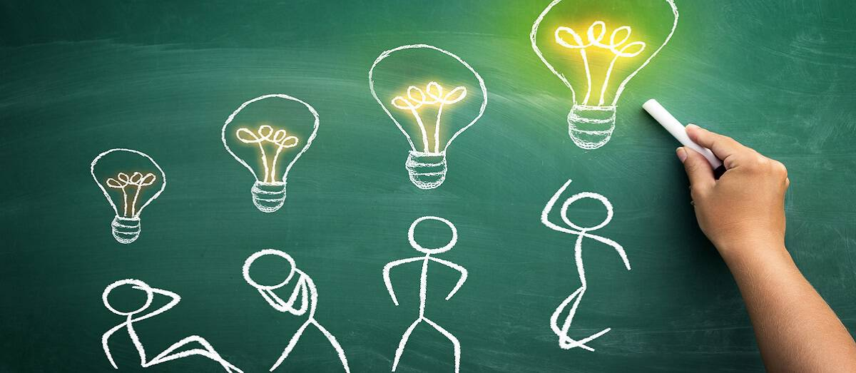 Idea developing – stickman who is rising up from sitting to jumping position present concept of developing idea