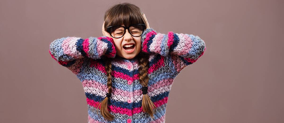 Little nerdy girl is frustrated because of something and  she can't  listen no one anymore.