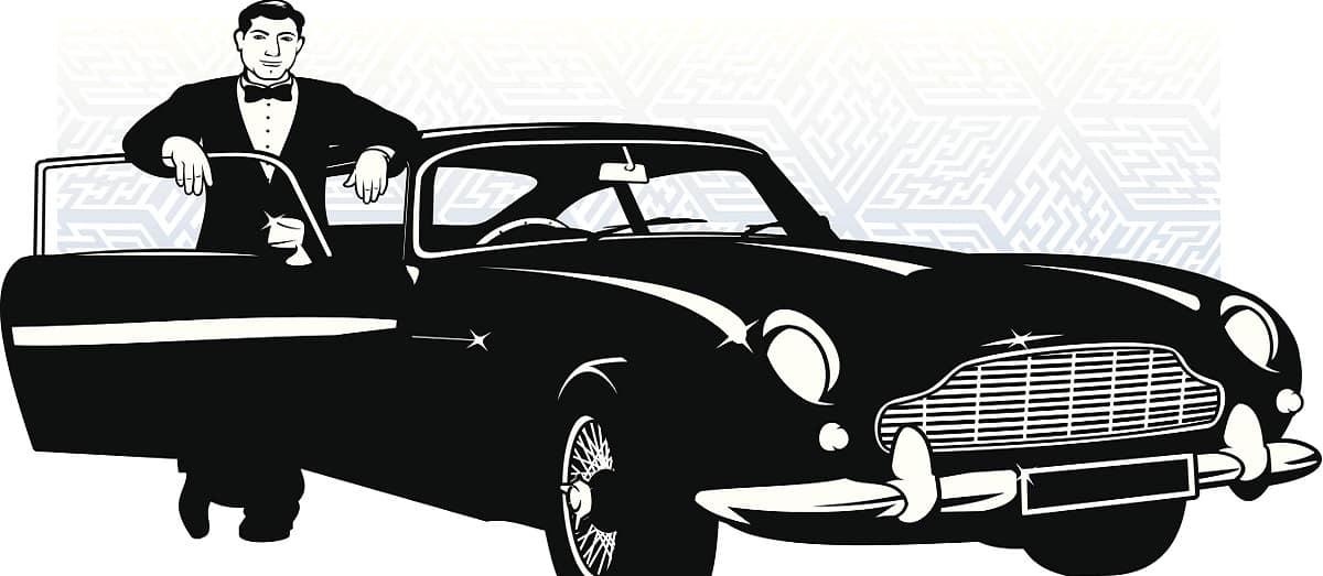 Secret agent with vintage car